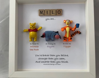 Winnie the Pooh and friends style frame-  sister- daughter-friend- flower girl gift- son- leaving gift.