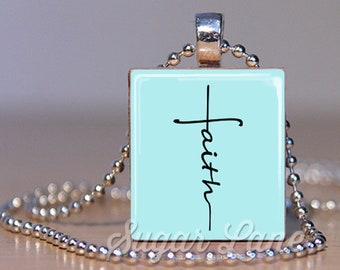 Faith Cross Necklace - Faith Necklace - Scrabble Necklace - Inspirational Pendant - Inspiring Jewelry