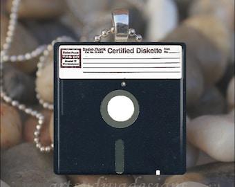 FLOPPY DISK Computer Chip Drive Glass Tile Pendant Necklace Keyring