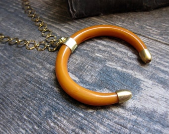 Mustard Crescent Horn Necklace Gold,Double Crescent Necklace,Crescent Necklace,Boho Necklace Gold,Double Horn Necklace,Long Crescent Horn