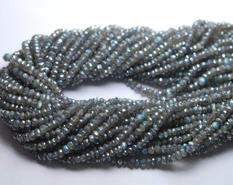 14 Inch Strand,MYSTIC LABRADORITE Micro Faceted RONDELLES, Size 3-3.5mm