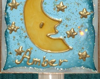 Personalized Moon Star Night Light Moon Nursery Decor Celestial Night Light Plug In Moon Nursery Celestial Nursery Baby Night Light Kids