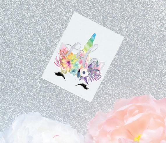 Happy unicorn monogram decal unicorn decal unicorn floral
