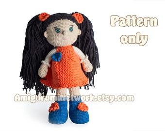 CROCHET PATTERN - Amigurumi doll Emma. PDF