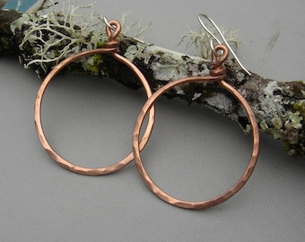 Big Copper Hoop Earrings, Basic Bold Hammered Hoops, Simple Everyday Jewelry Classic Circle Earrings, Big Copper Earrings Women Gift for Her