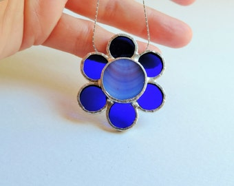 Colorful necklace with a flower pendant, glass and silver pendant, stained glass