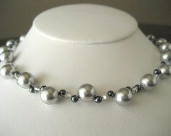 Double Strand Swarovski Pearl and Crystal necklace...with free matching earrings...FREE SHIPPING