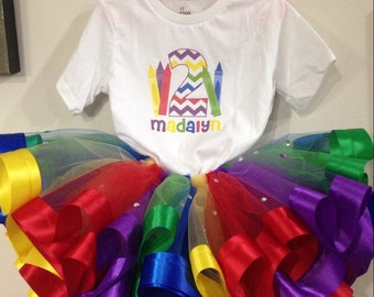 Crayon themed birthday outfit