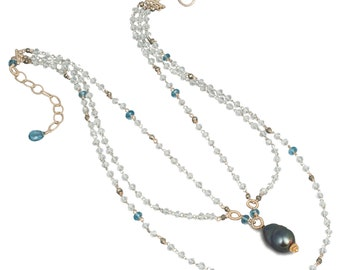 Topaz Necklace, London Blue Topaz Necklace, Black Pearl Necklace, 18K Gold Necklace, 14K Gold Necklace