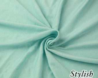 Aqua Light-weight 160 GSM Rayon Spandex Jersey Knit Fabric by the Yard - 1 Yard Style 13390