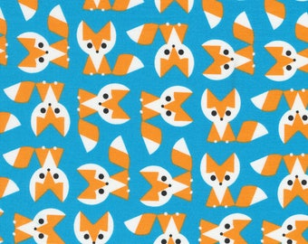 "55"" LAMINATE Blue and Orange Foxes Print Laminate Cotton from Cloud 9 Fabrics"