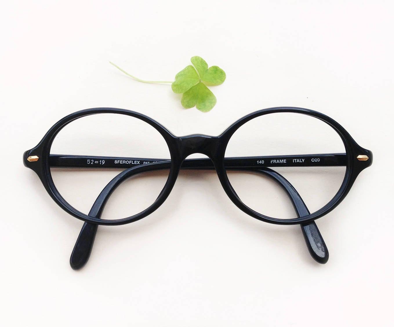 Black oval Frames by Sferoflex / 80s oval round shaped