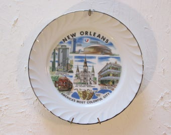 Vintage New Orleans Souvenir Collectible Plate W/Hanger Ceramic Americau0027s Most Colorful City Superdome French Quarter Streetcar Mardi Gras & Mardi gras plates | Etsy