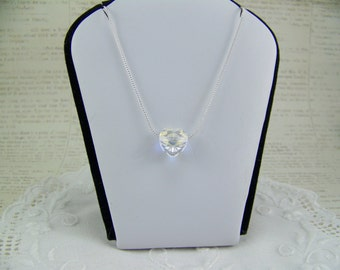 Heart Necklace, AB Crystal Heart Necklace, Sweetheart Necklace, Swarovski Heart, Wedding Necklace, Solitare Heart, Floating Heart Necklace