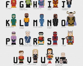 The A-Z of Superheroes Cross Stitch Alphabet Sampler PDF pattern only - Spiderman, Wonder Woman, Batman, Deadpool, Thor, Phantom