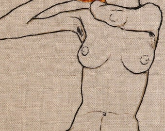 Egon Schiele Nude - Hand embroidered art framed with Maple Wooden Frame