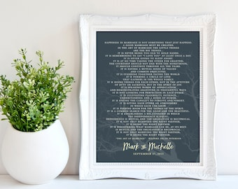 The ART of MARRIAGE Poem Print, Personalized Wedding Blessing Gift, Custom Anniversary gift, Poster 8 x 10, Choose Colors and Font