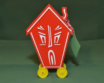Haunted House Logo Vintage Style Toy on Wheels 3D Printed Plastic Holiday Christmas Red White