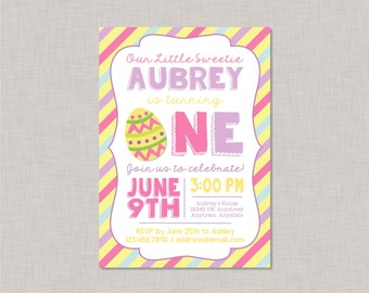 Easter First Birthday Invitation, Easter 1st Birthday Invitation, Easter Birthday Invitation, Easter First Birthday, Easter Birthday