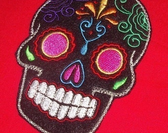 Day of the Dead, Sugar Skull EMBROIDERED black multi pink eyes Dia de los Muertos patch