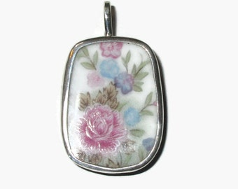 Broken China Jewelry, Flower Necklace, Rose Pendant,  Sterling Silver Necklace, 100% Handmade, OOAK,Upcycled Jewelry,Broken Plate