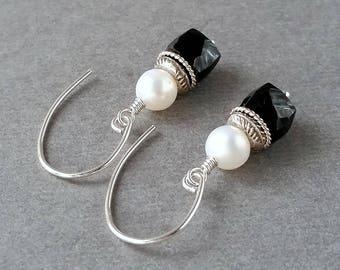 Black Spinel Cube Earrings, White Pearl, Hill Tribe Bali Sterling Silver, Urban Rustic Boho, Petite Lightweight, Geometric Earrings