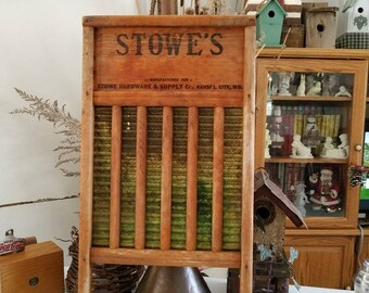 Stowe's Brass Washboard Made for Stowe Hardware & Supply Co, Kansas City, MO