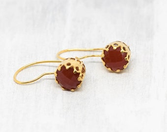 Red gold plated earrings wires rust red earrings