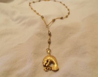 Gold Manatee Single with Gold and Gunmetal Necklace