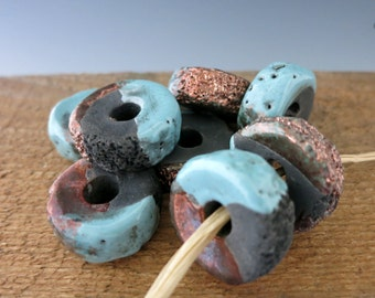 Mykonos Frosted Copper Textured Donut, 25x13mm Ceramic Bead with Copper Oxide finish, Made in Greece, RPT25FC