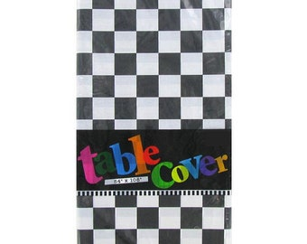 Black & White Checked Race Car Flag Square Plastic Tablecloth - NASCAR Themed Party, Racing Party, Checkered Flag Tablecloth, Party Supplies
