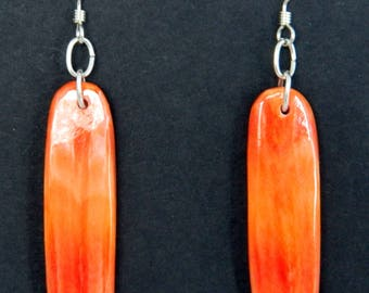 Native American Santo Domingo Orange Spiny Oyster Sterling Silver Handmade Earrings