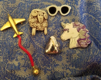Collection of Funky Kitschy Vintage Pins