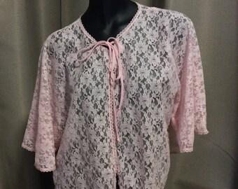 1960's Osti Nylon Pink Lace Lingerie, bed jacket,