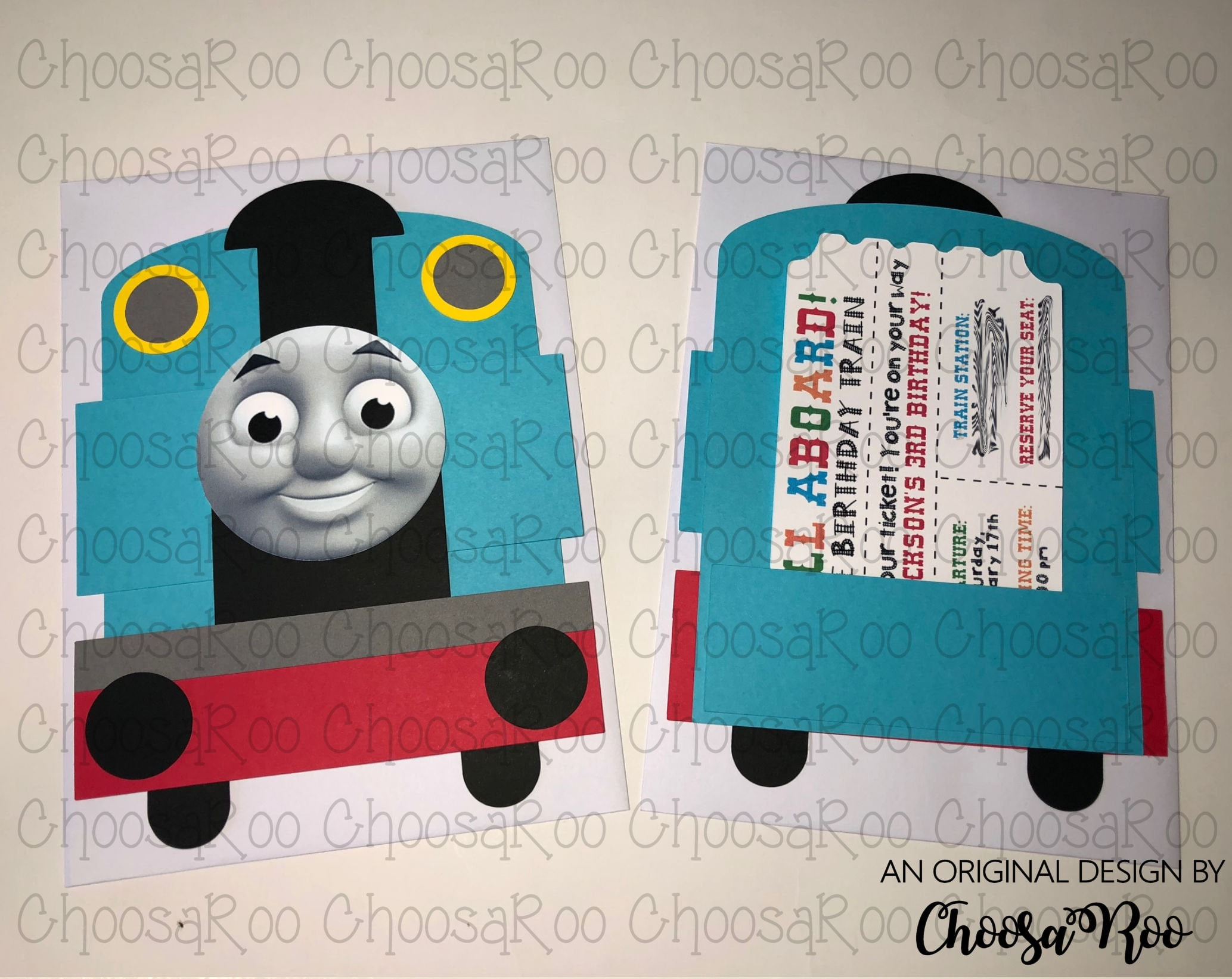 Train Shaped Invitations with Ticket Thomas Inspired