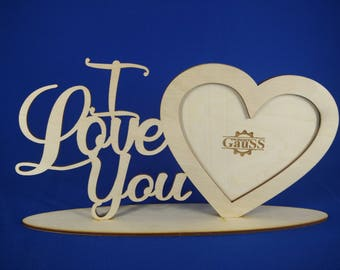 Wood laser cut photo frame valentine's gift i love you