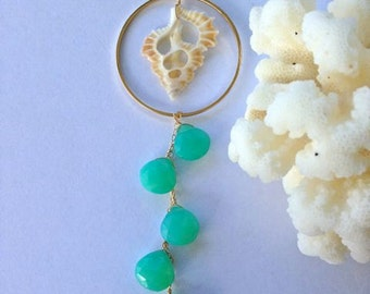 14kt Gold Filled Long Necklace with Gold Hoop Sea Shell and Sea Foam Chalcedony Dangle