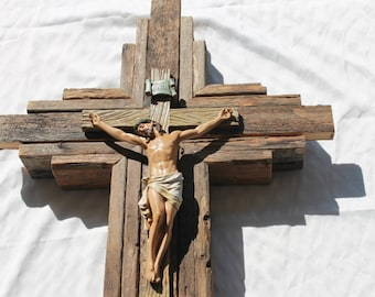 """Crucifix - Gorgeous Jesus Corpus on Large Wooden Rustic Wall Cross   33"""" tall  Stained with warm wood tones"""
