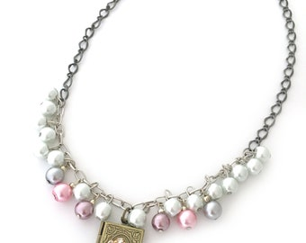 locket with flower necklace, pearl & locket necklace, pearl charm necklace, locket charm necklace, book locket necklace pink locket necklace