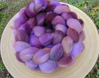 Hand dyed southdown wool combed Top Roving for spinning and felting - 120 grams