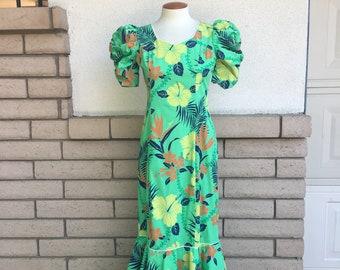 Hawaiian Dress Lime Green Orange Navy Blue Tiered Maxi Tropical Dress Puff Sleeves Medium