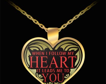 Husband in heaven necklace - Widow necklace - When I Follow My Heart It Leads Me To You Necklace - Gift idea