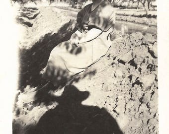 """Vintage Snapshot """"She's Not Afraid"""" Scary Shadow Of Photographer Man With Hat Old Black & White Photo Found Vernacular Photo"""