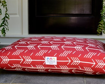 Arrows Dog Bed || Designer Fabric in Red || Small Medium || Arrow Collection || Gift || Custom Cover || Personalize Pups Name