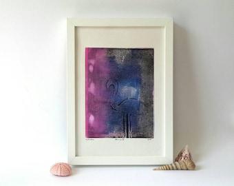 Flamingo Monoprint, exotischen Vogel, abstrakte Monotypie, Wand-Dekor, Vogel-Themen, Flamingo-Print, Wandkunst, Druck Kunst, kleine original-Artworks