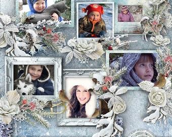 Digital Scrapbooking, Winter Clusters, Wintertime, Cluster Frames, Digital Scrapbook Clusters, Digital Frame Clusters, Winter Frames,