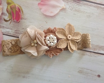 Newborn country rustic burlap fall headband-photo prop,beige-tan headband,baby girls headband
