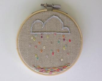 Rainbow Cloud and Rain Embroidery Hoop 4inch Embroidery Hoop Clouds and Rain Hoop Art Under 25 Gift Children's Room Art Embroidery Hoop Art