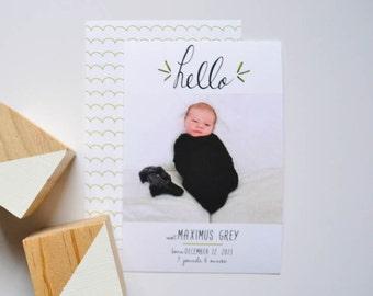 Fichier numérique - Bonjour annonce de bébé - bébé annonce - naissance annonce - Hello - moderne