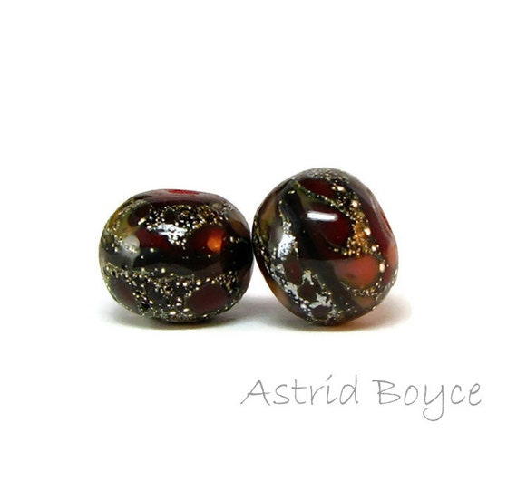 Cherry Cola Artisan Lampwork Bead Pair- Deep red glasses and a few other shades with fine Italian silver on a dark base - perfect for summer